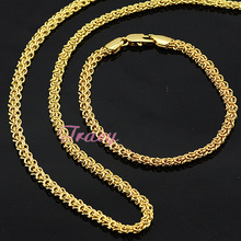 18K Jewelry Sets Mens Womens Chains Yellow Gold Filled Link Necklace Bracelet Sets Gold Long(China (Mainland))
