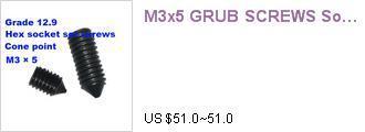 Гаджет  1200pcs/lot M3x5 GRUB SCREWS Socket Setscrew Cone Point ISO Metric Coarse thread 0.5mm pitch None Аппаратные средства