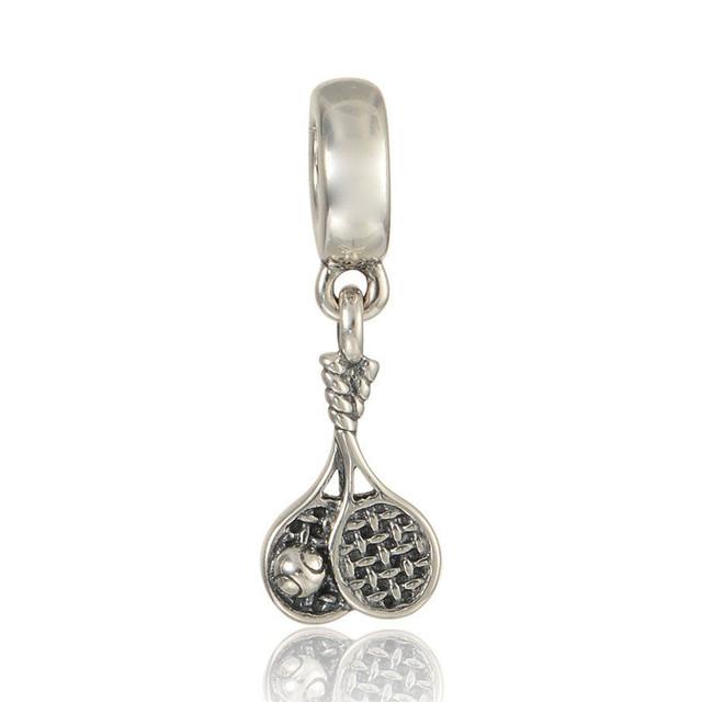 Матч теннисные мотаться бусины чистый 925-Sterling-Silver женщин DIY мода ювелирных изделий подходит европейский бренд прелести браслет летний стиль