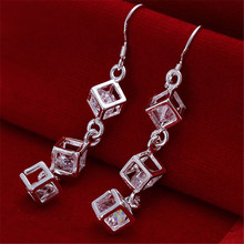 Hot Sale Jewelry Silver Earring White Cubic Zirconia Drop Earrings For Women Pendientes E095(China (Mainland))