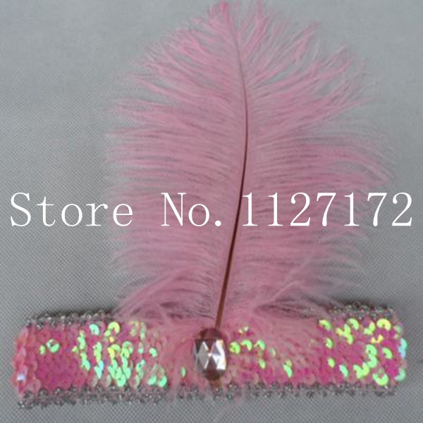 Freeshipping Paillette Sequin 5pcs/lot pink color Ostrich Feather Head piece Headwear Hair Band Headband(China (Mainland))