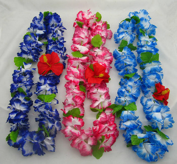 50pcs party supplies hawaiian flower leis garland hawaii wreath cheerleading products artificial necklace HH0003