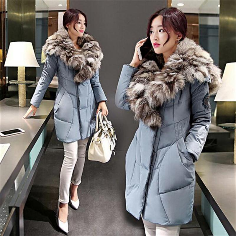 Lowest price!2016 New Fashion Long Fur Coat European style Winter Women real Fox Fur Coat warm Female Jackets Free shipping(China (Mainland))