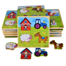 Small Wooden Animals Cartoon Grab Peg Knob  Puzzles Toy 14.8*14.8*0.8CM(China (Mainland))