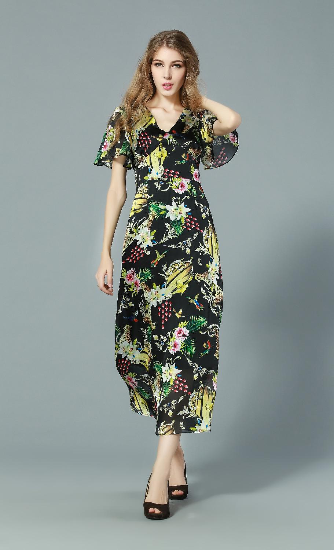 Summer Long Dresses 2015 Europe Fashion New Sexy V-Neck Flare Sleeve Wild Leopard Animal Print Slim Casual Dress(China (Mainland))