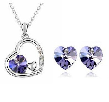 Cheap Promotion Elegant Silver Plated Crystal Sweet Heart Pendants Necklaces/Stud Earrings Bridal Wedding Jewelry Sets Women - DAFU JEWELRY store