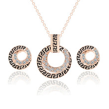 HOT Wedding Jewelry Sets Women's Round Earring Studs Rose Gold Plated Crystal Bridal Earrings Necklace Sets Dress Accessories