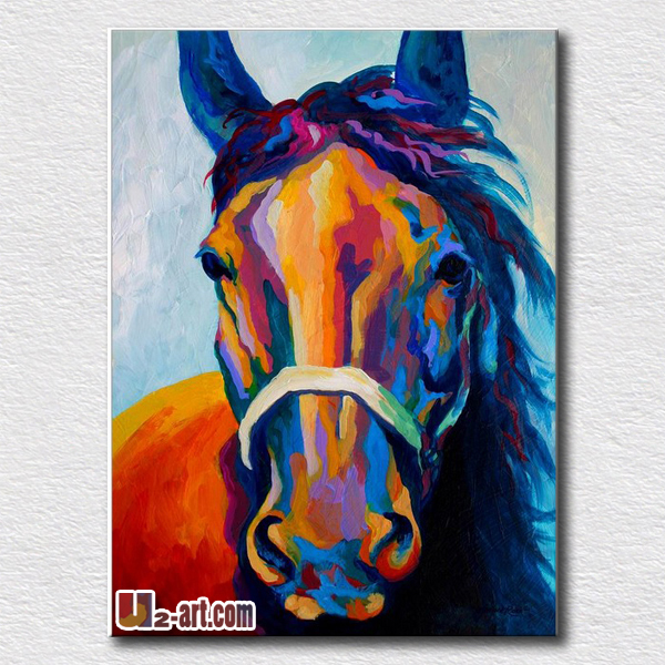 Painting handpainted art horse canvas oil high quality reproduction animal pictures on the living room(China (Mainland))