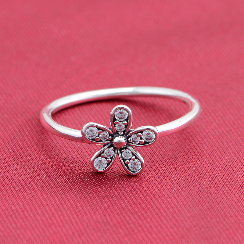 European Brand Charm Rings 925 sterling silver pave daisy flowers with Clear CZ rings women jewelry accessories DIY(China (Mainland))