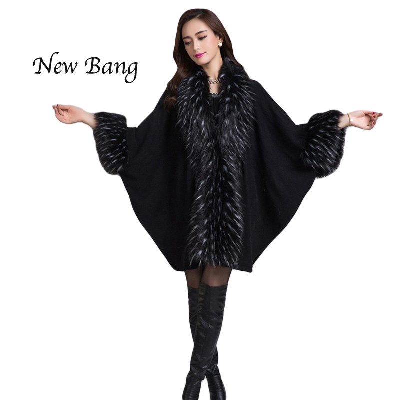 High Quality Spring Coat Faux Fox Fur Women Poncho Double Cardigan Faux Fur Coats Shawl 6 Colors Free Size(China (Mainland))