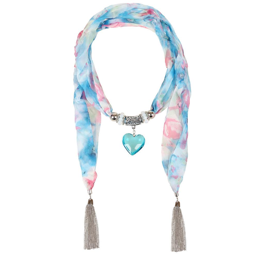 Blue Floral Scarf Necklace Crystal Heart Pendant Scarves withTassel foulards Snood Echarpe Women Scarf Rose Silk ScarfSC150017(China (Mainland))