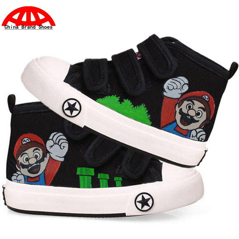 Anime Games Super Mario Kids Boys Girls Hand Painted Sneakers Children Canvas Shoes Cartoon Character Mario
