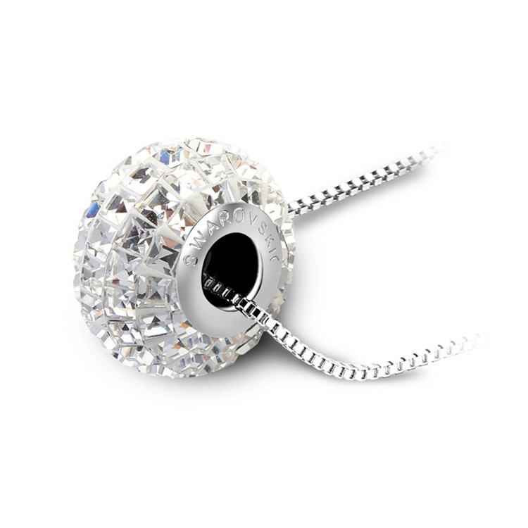 With genuine brand logo Crystal bead pendant necklace Made with Swarovski Elements Drill the ball DIY