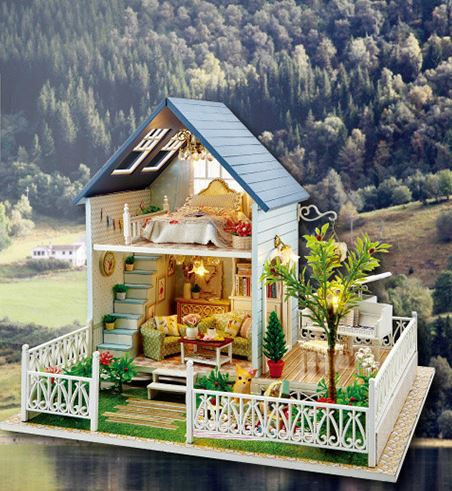2015 Wooden DIY Doll House Nordic Holiday,3D Assembly Dollhouse Furnitures LEDs Miniatures Children's Gift - ASIA WORLD TRADE TECH HK LTD store