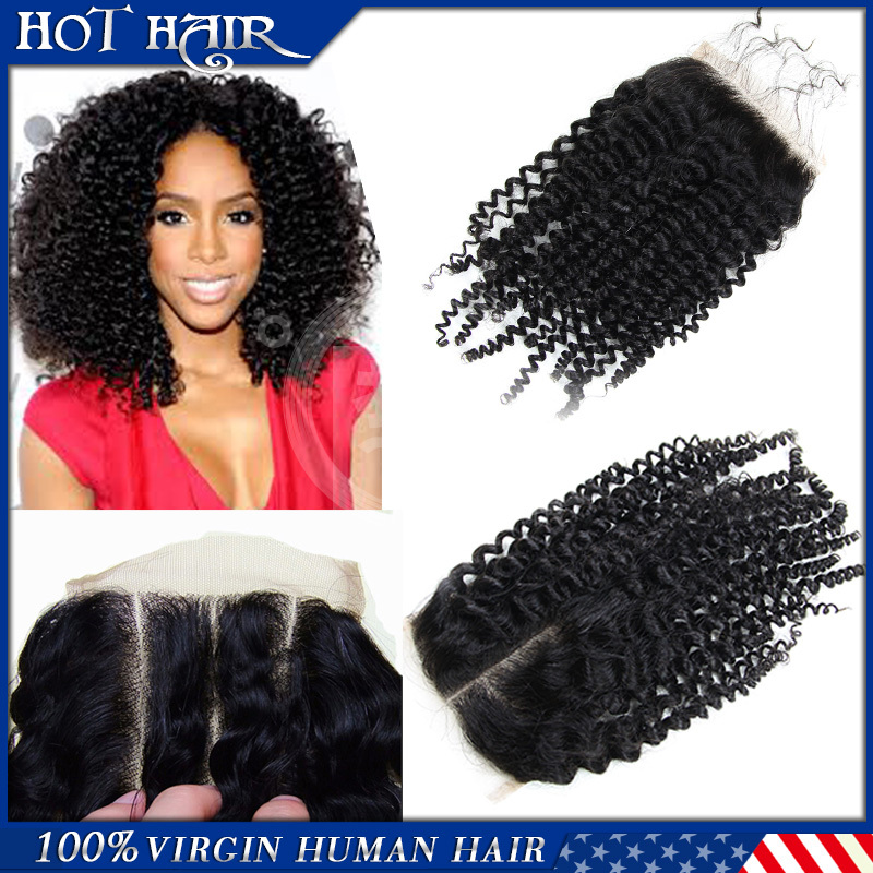 6A Mongolian Kinky Curly Lace Closure 4*4 Bleached Knot Virgin Human Hair Lace Closure 3 Part Middle Part Lace Front Closures(China (Mainland))