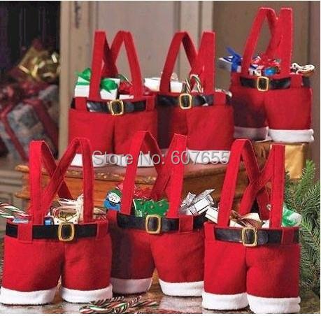 5pcs/lot Santa Pants Style Christmas Candy Gift Bag Christmas Wedding Gifts Decoration Supplies Free Shipping(China (Mainland))