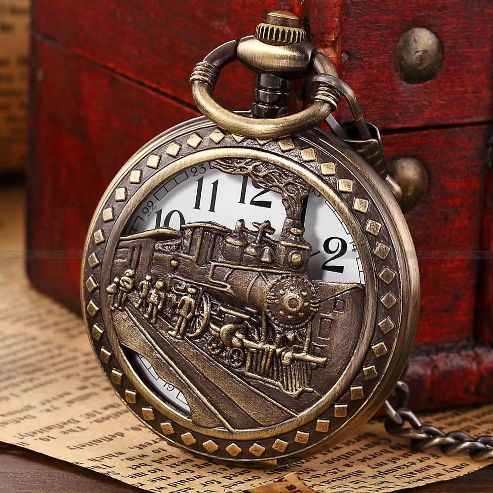 Brand New Fashion Bronze Hollow Steam Train Men Analog Necklace Chain Fob Quartz Pocket Watch Gift/ WPK100(China (Mainland))