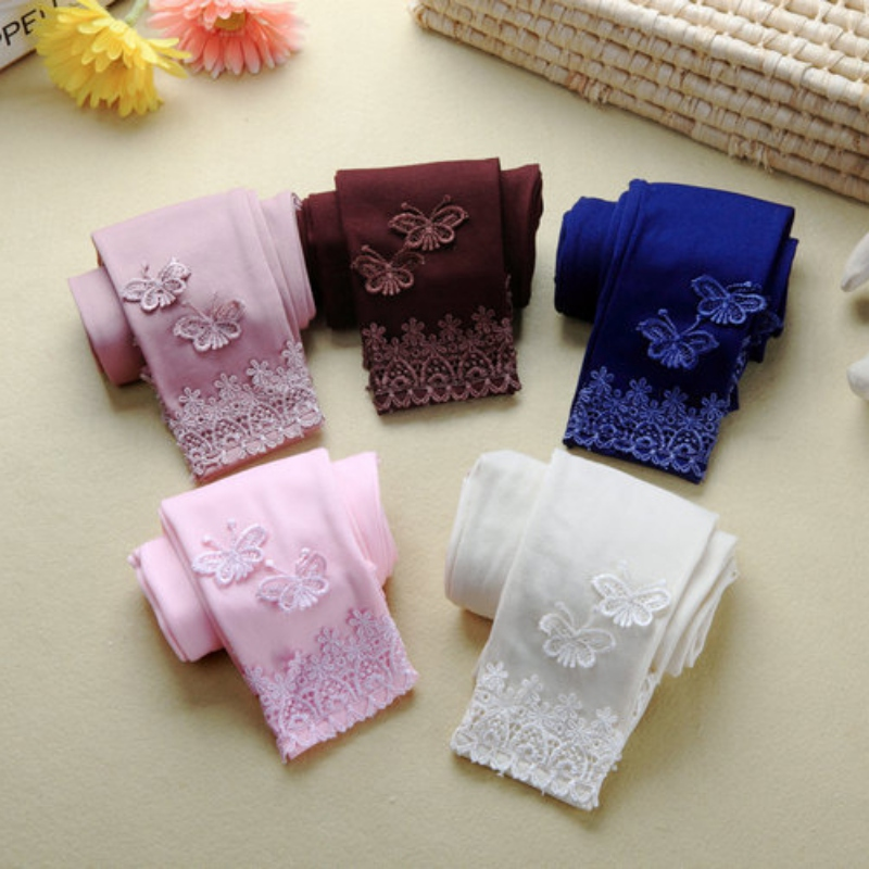 Toddler Tight Kid Baby Lace Butterfly Warm Pants Girl Stretchy Leggings Trousers