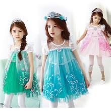 2015 verão Elsa meninas moda princesa dos desenhos animados do Vintage vestido crianças crianças Cosplay Costume traje Cosplay vestidos de festa Dcr32
