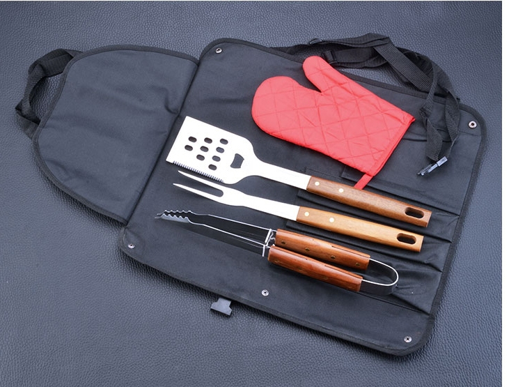 Fashion Stainless BBQ Tool Set W/ Wood Handle (Glove,Tong,Fork,Spatula) Grill Cooking /Barbeque Tool set w/ Carrying Bag(China (Mainland))