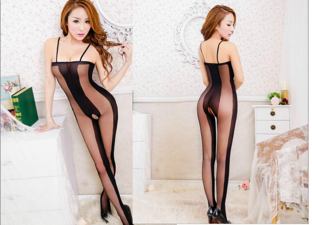 Sexy Lingerie Hot Women Sexy lingerie Black Crotchless Body Stocking Bodysuit Kimono Sex products Open Crotch women Teddies(China (Mainland))