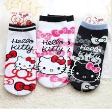 Kawaii Hello Kitty Print 100% Cotton Cartoon Socks Women Socks Slippers K6466