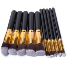 Buy 10 Pcs Silver/Golden Makeup Brush Set Cosmetics Foundation Blending Blush Makeup Tool Powder Eyeshadow Cosmetic Set for $3.46 in AliExpress store