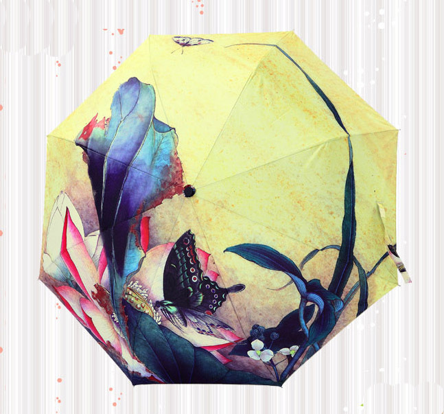 Free shipping top quality ink painting umbrella/ thickened silver coating super uv protected folding umbrella/ gifts(China (Mainland))