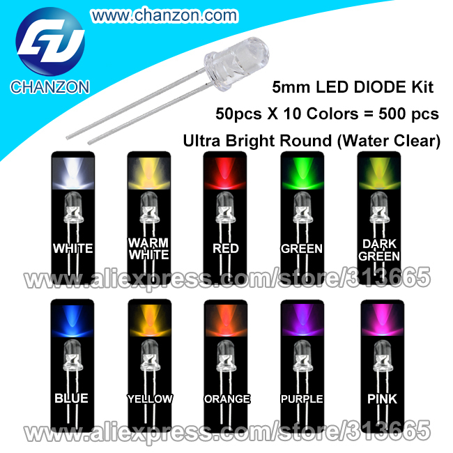 product 500pcs 5 mm Ultra Bright 10 Color(Warm/White/Red/Green/Blue/Yellow/Orange/Purple/Pink)3V DIP Round 5mm Lamp LED Diode Light Kit