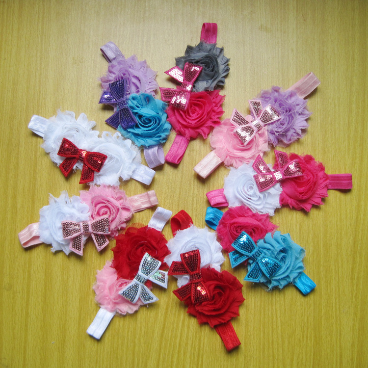 985-321 Cute newborn baby baby rose flower hair band chiffon lace scarf with elastic hair accessories headdress 9pcs/lot(China (Mainland))