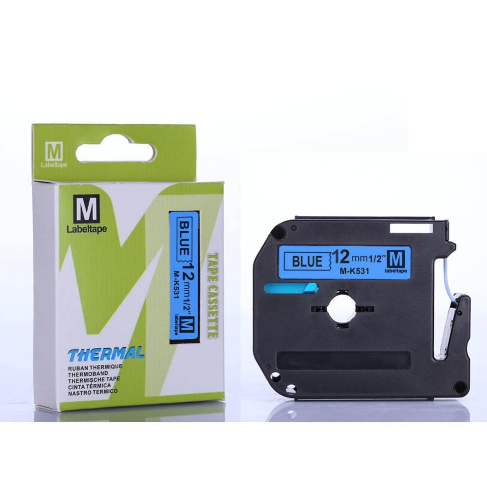 Free 2pcs MK531 M-K531 black blue 12mm x 8m compatible Brother ptouch P-toucher PT-70 PT-80 printers