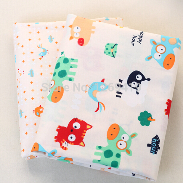 160*50CM 2PCS Lovely Cartoon Animal Print Cotton Fabric Teida DIY Tissue Patchwork Telas Sewing Baby Toy Quilt Textile Tecido(China (Mainland))