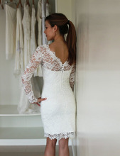 Sexy Sheath White Lace Long Sleeve Short Wedding Dresses Vestidos De Noiva Curtos Elegant Popular Hot Sale Custom Made Luxury(China (Mainland))