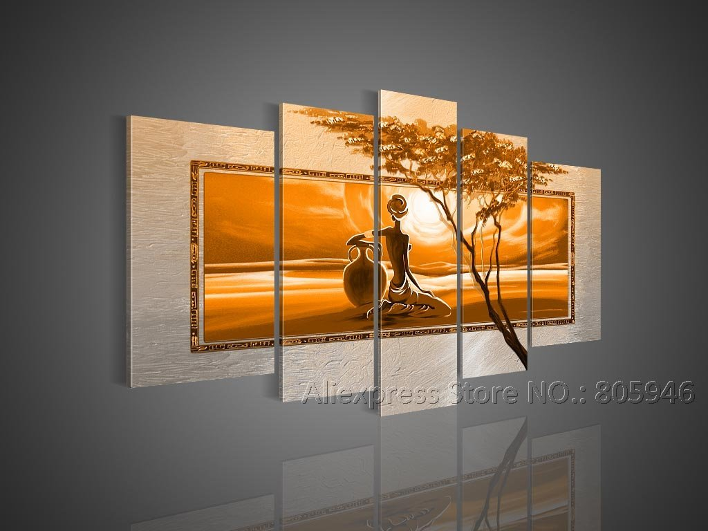 Framed handpainted modern wall decor 5 pcs framed for Big wall art