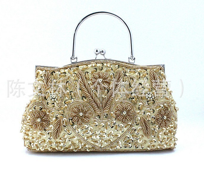 2014 Stylish Accessories Gold Exquisite Women's Paillette Handbag Two Sided Beaded Purse Day Clutches Wedding Party Bag(China (Mainland))