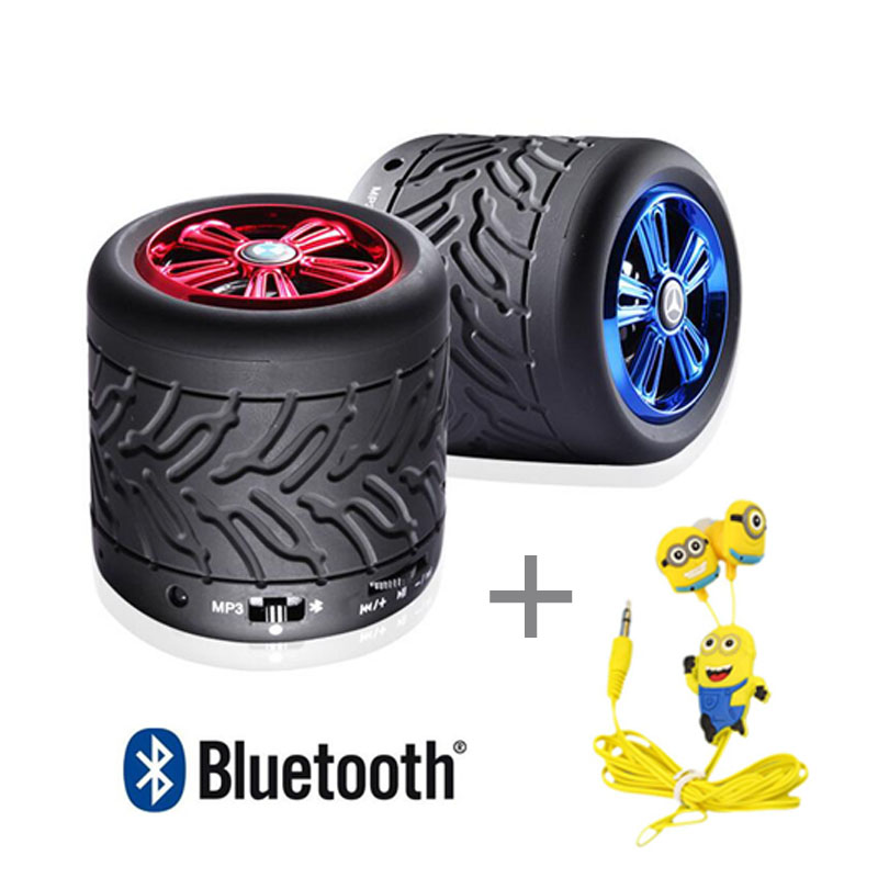 High quality Portable Subwoofer wireless bluetooth speakers Tire mini card Car acoustics Hands-free calling speakers+ headphones(China (Mainland))