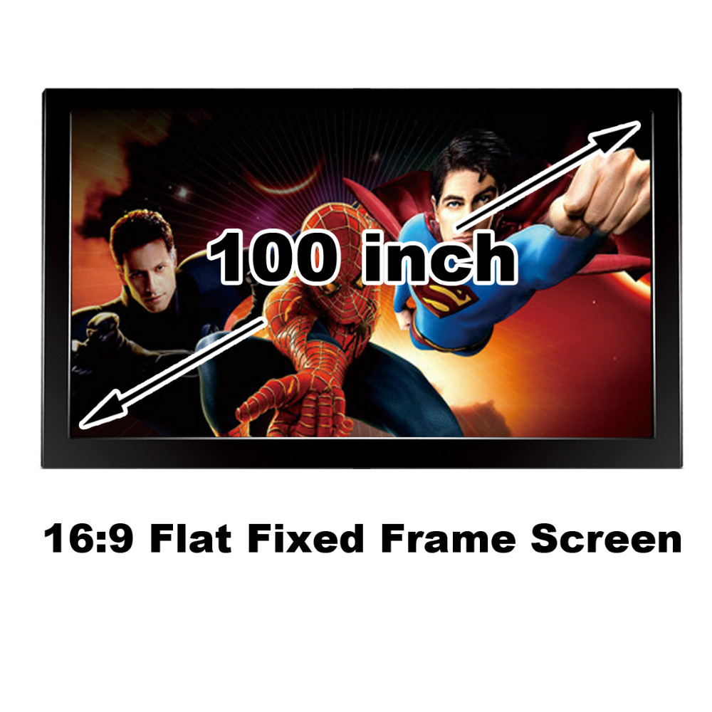 Hot Selling Good Gain 100 Inch Projection Screen DIY Flat Fixed Frame Wall Mount Projector Display Screens 16:9 3D Cinema<br><br>Aliexpress