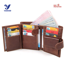 Buy Trifold Brand Wallet Men Genuine Cowhide Leather RFID Wallet Short Wallet Vintage Purse Men Coin Big Capacity Card Holder Brown for $14.72 in AliExpress store