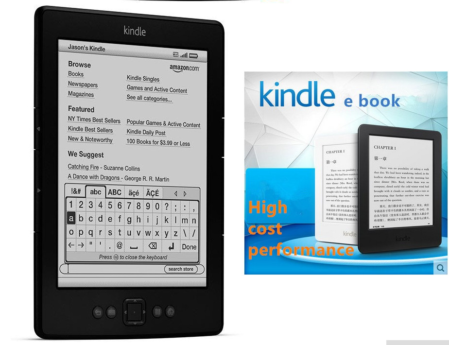 In stock cheap new KINDLE ebook touch screen ebook reader 4GB E-ink 6 inches usb reading lamp for gift free Shipping(China (Mainland))