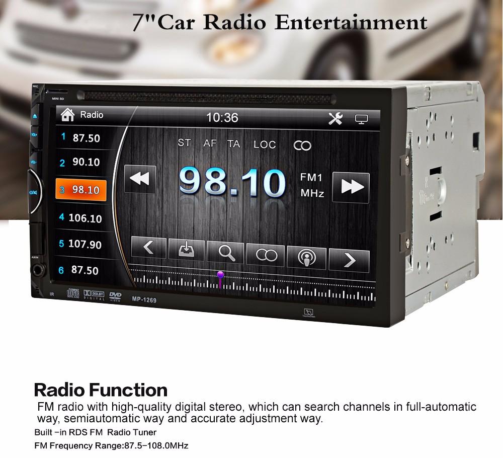 """Купить 2 Din Автомобильный Видео-Плеер DVD 7 """"HD С Сенсорным Экраном Bluetooth Стерео Радио Car Audio Автомобильная Электроника Поддержка Заднего вида камера"""