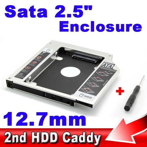 Universal SATA to SATA 12.7mm Aluminum 2nd SSD HDD HD Hard Disk Driver Caddy External Case CD DVD DVD-ROM Optical Bay for Laptop(China (Mainland))