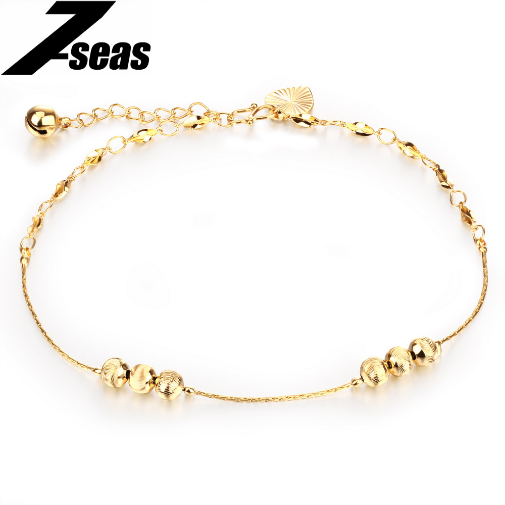 Bohemia 18K Gold Plated Lucky Bead and Bells Women Ankle Bracelet Barefoot Sandal Beach Foot Jewelry tobillera,JM732(China (Mainland))