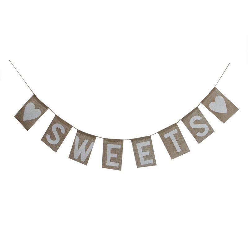 SWEETS Burlap Banner Rustic Country Wedding Hanging Sign Advertising Banner Outdoor Flag(China (Mainland))