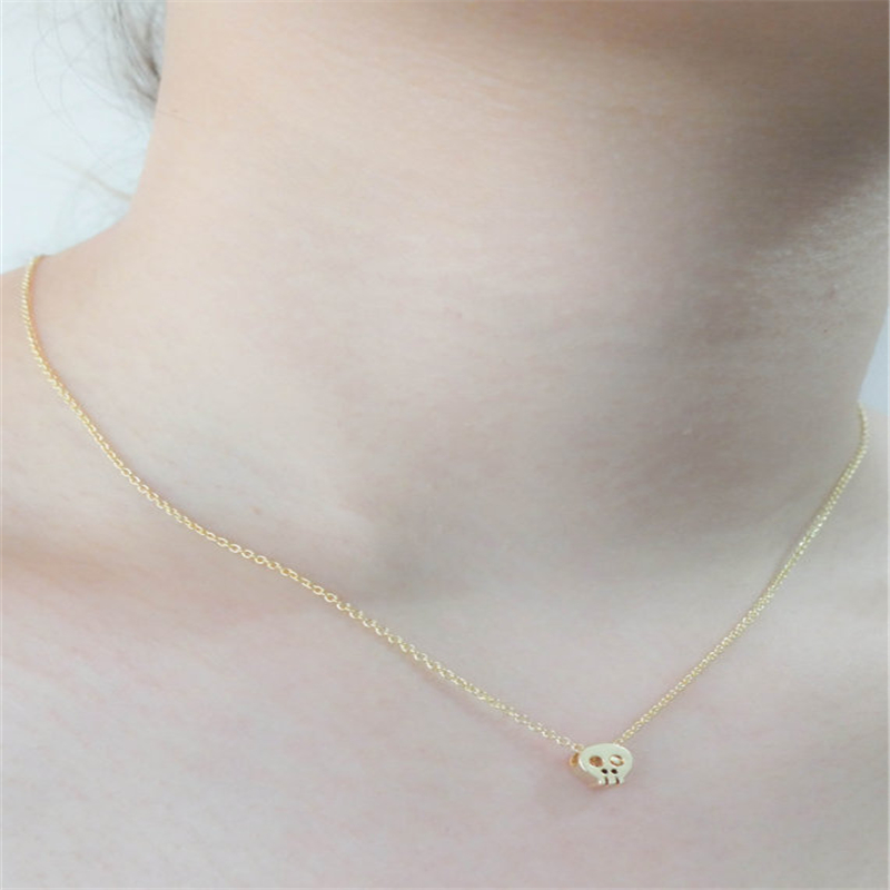 Simple Cute man sckull pendant necklace cute tiny skull necklaces for women girl jewelry wholesale(China (Mainland))