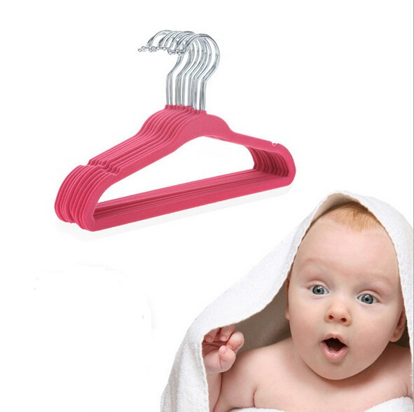 Cheap baby pants hanger flocking mini child hangers colorful kids small clothes hangers for closet shop& home cabide 10pcs/lot(China (Mainland))