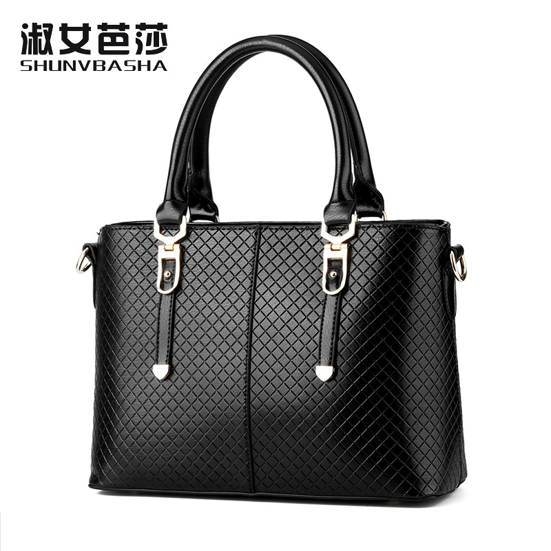 SNBS 100% Genuine leather Women handbags 2016 New Grid embossed handbag high quality handbag fashion shoulder Messenger bag(China (Mainland))