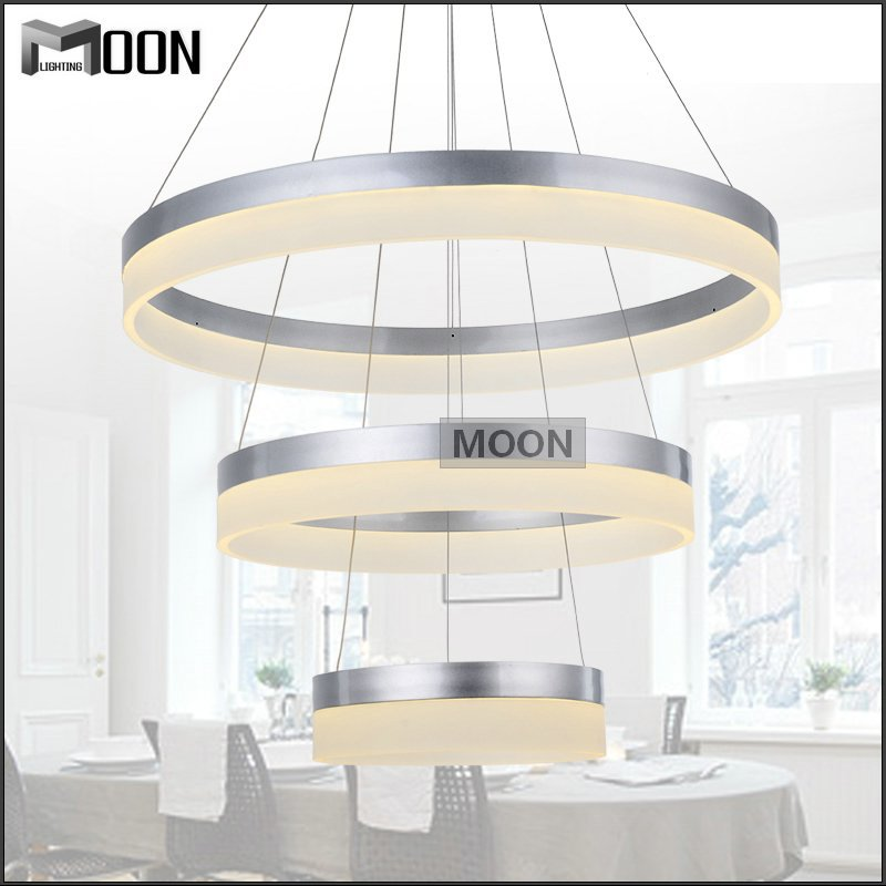 Modern trends led chandelier acrylic round led light for Diy led chandelier