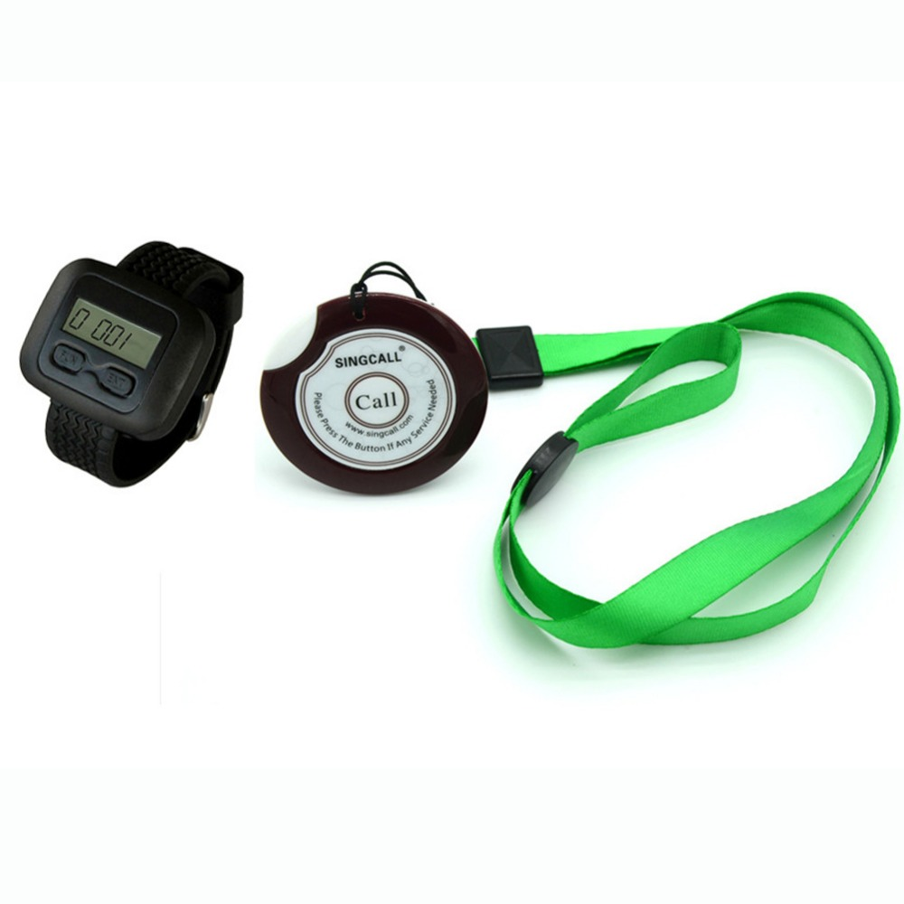 wireless service calling system,paging system for hospital,welfare center.1 table button and 1 pc of wrist watch receiver(China (Mainland))