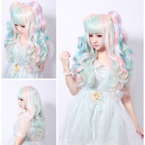 xiuli 0003394 Womens Light Blue Pink Hair Cosplay Party Wigs Lolita Long Curly Wave Full Wig<br><br>Aliexpress