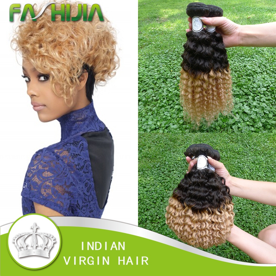 8A Grade Virgin Unprocessed Indian Curly Virgin Hair T1B-27 Ombre Dark Roots Blonde Hair Curly Wave Kinky Curly Virgin Hair 3Pcs<br>